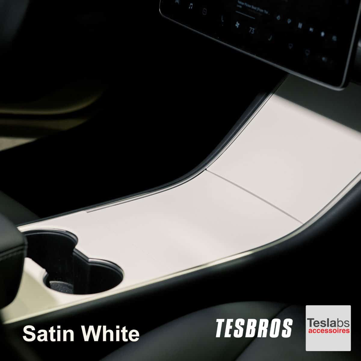 Model 3/Y - Center console wrap satin white